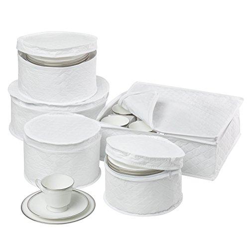 Honey-Can-Do SFT-01630 Dinnerware Storage Set, 5-Piece,White