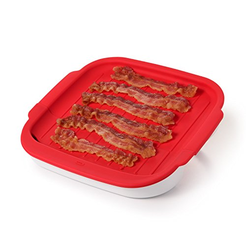 OXO Cooker Good Grips Microwave Bacon Crisper, One Size, Red