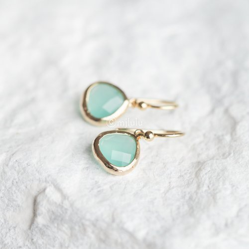 Crystal Glass Aqua Blue Mint Green Drop Earrings