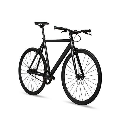 6KU Aluminum Fixed Gear Single-Speed Fixie Urban Track Bike, Shadow Black, 58cm/L