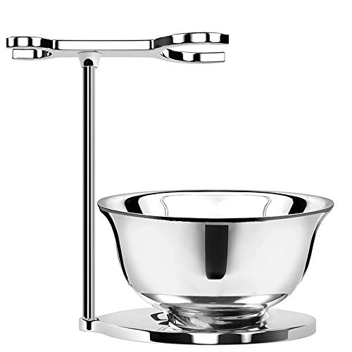 ACRIMAX Stainless Steel Shaving Brush Razor Stand with Double Layer Smooth Soap Bowl Set, Deluxe Chrome Shave Bowl and Stand Compatible with Most Razors