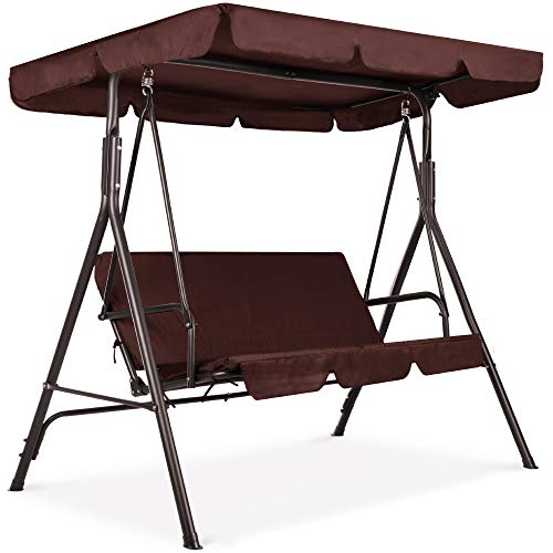 Best Choice Products 2-Person Outdoor Large Convertible Canopy Hanging Swing Glider Lounge Chair w/Ajustable Shade, Removable Cushions - Brown