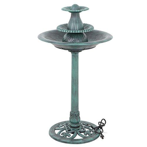 ZENSTYLE 32' H Resin Sitting Pair Bird Bath Pedestal Outdoor Garden Décor, Green (w/Pump)