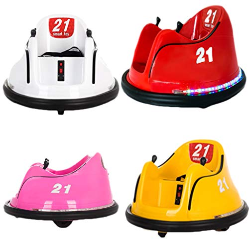 Dasy (Ship from US) Kids Ride On Bumper Car Toy Rechargeable Remote Control 360 Spin Electric Ride On Car Toy with Light, Safety Belt and Anti-Flat Tires for 1.5-8 Years Old (Pink)