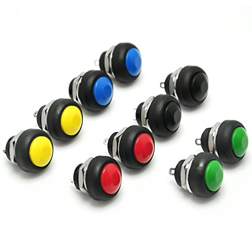 Gikfun 12mm Waterproof Push Button Momentary On Off Switch 5 Colors DIY Kit for Arduino (Pack of 10pcs) EK1925