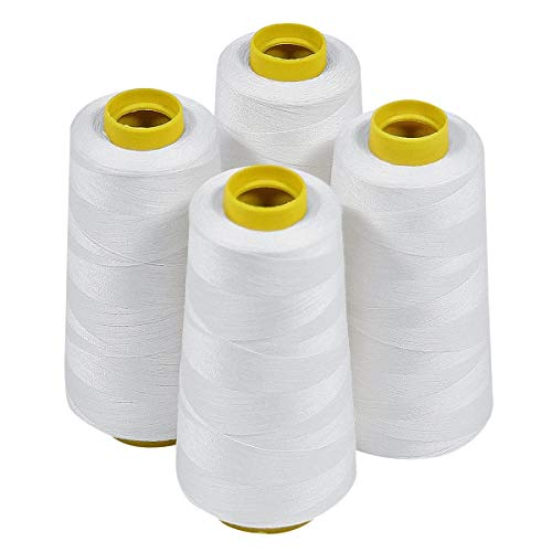 4 Large Cones (3000 Yards Each) of Polyester Threads for Sewing Quilting Serger White Color from Threadnanny