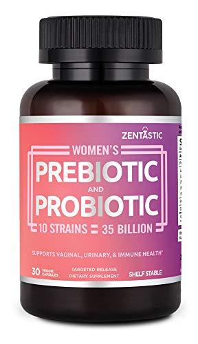 Zentastic Women's Probiotic & Prebiotic Supplement with Cranberry – 35 Billion CFU – Vaginal, Immune & Digestive Health – 10 Strains – Shelf Stable – 30 Delayed Release Veggie Capsules