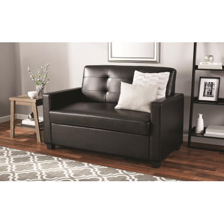 Mainstays Sleeper Sofa with CertiPUR-US certified Memory Foam Mattress - Black Faux Leather