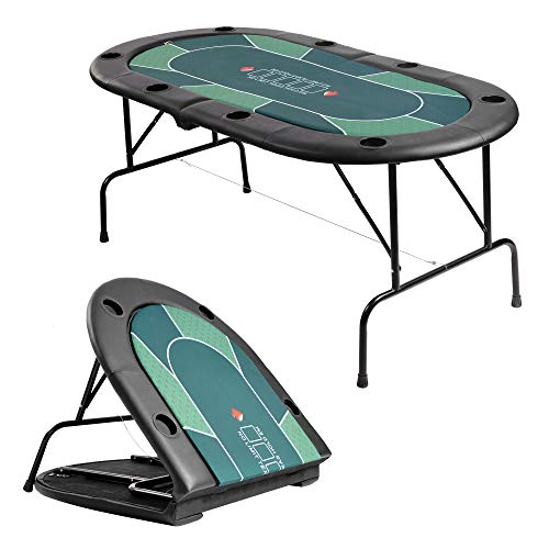 LUCKYERMORE Folding Poker Table 2 in 1 Poker Table Top for 8 Players w/Cup Holder