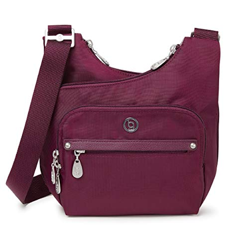 BG by Baggallini Charlotte Crossbody Bag - Stylish, Lightweight, Adjustable-Strap Purse With Multiple Pockets and RFID Protection, Deep Eggplant