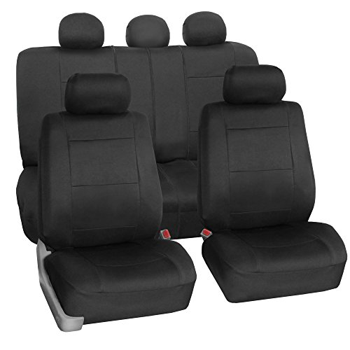 FH Group FB083BLACK115 Full Set Seat Cover (Neoprene Waterproof Airbag Compatible and Split Bench Black)