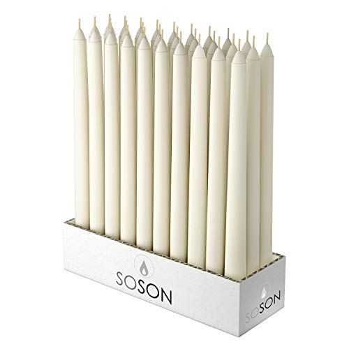 Simply Soson 10 Inch Cotton Ivory Unscented Tall Taper Candles. Smokeless and Drip-Less Smooth Flame Long Burn Paraffin Wax Dinner Candles Pack of 30