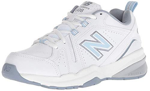 New Balance Women's 608 V5 Casual Comfort Cross Trainer, White/Light Blue, 8.5 W US
