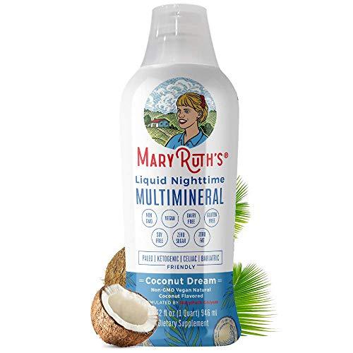 Liquid Sleep Multimineral by MaryRuth's (Coconut) Vegan Vitamins, Minerals, Magnesium, Calcium & MSM - Natural Sleep & Stress Aid - Muscle Relaxation - NO Melatonin - Non-GMO Paleo 0 Sugar 0 Fat 32oz