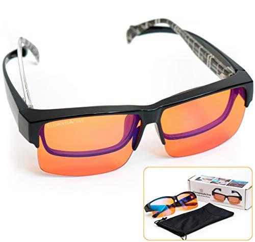 ElementsActive Fitover Anti-Blue Blocking Computer Glasses   Fits Over Prescription Eyeglasses   Amber Orange to Block Blue Light   Better Night Sleep & Reduce Eyestrain Migraine Headaches Insomnia