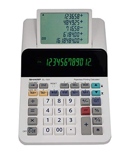 Sharp El-1501 Compact Cordless Paperless Large 12-Digit Display Desktop Printing Calculator That Utilizes Printing Calculator Logic