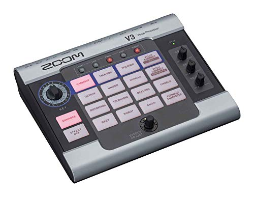 Zoom V3 Vocal Processor, Vocal Effects Pedal, 3-Part Harmony, Pitch Correction, 16 Studio Grade Effects, Battery Powered, for Streaming and Recording