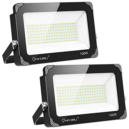 Onforu 2 Pack 100W LED Flood Light, 10000lm Super Bright Security Lights, IP66 Waterproof Outdoor Flood Light,5000K Daylight White Floodlight for Yard, Garden, Playground, Basketball Court