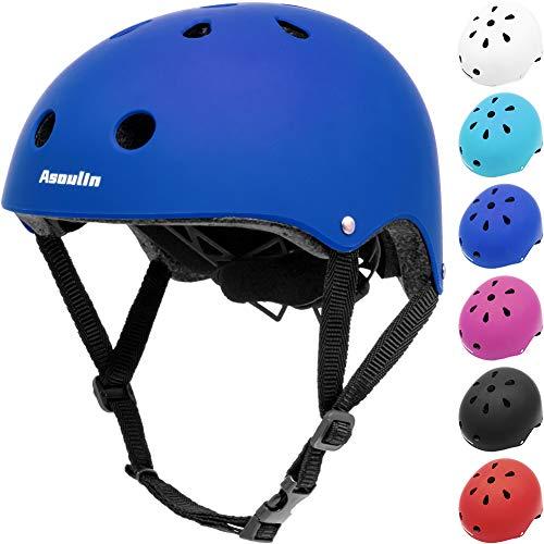 Asoulin Kids Helmet Bike Adjustable Toddler Skateboard Helmet for Boys Girls Ages 3-8 Years Old, Multi-Sport Safety Cycling Skating Scooter Roller Skateboarding (Royal Blue)