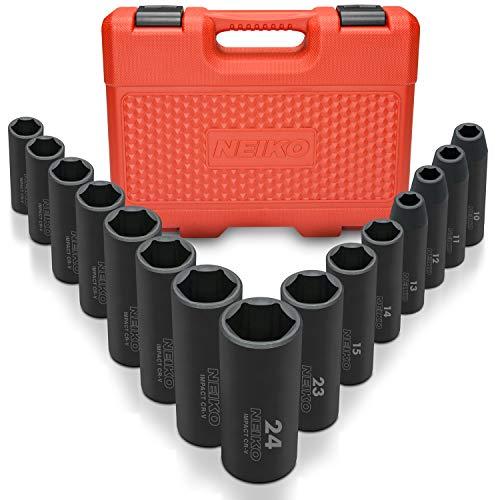 Neiko 02474A 1/2' Drive Deep Impact Socket Set, 15 Piece   6 Point Metric Sizes (10-24 mm)   Cr-V Steel