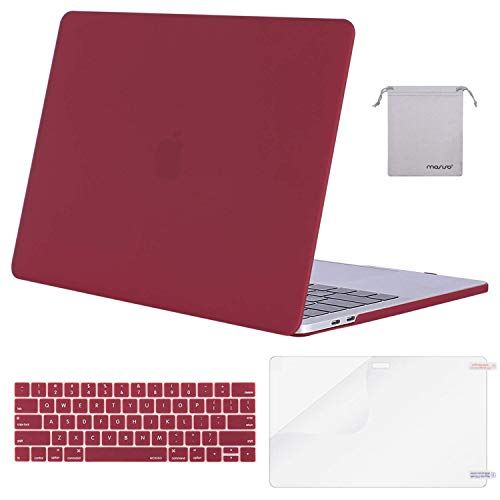 MOSISO MacBook Pro 13 inch Case 2019 2018 2017 2016 Release A2159 A1989 A1706 A1708, Plastic Hard Shell Case&Keyboard Cover&Screen Protector&Storage Bag Compatible with MacBook Pro 13, Wine Red