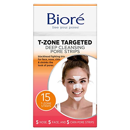 Bioré Blackhead eliminating targeted pore strips, t-zone - 5 nose + 5 face + 5 chin