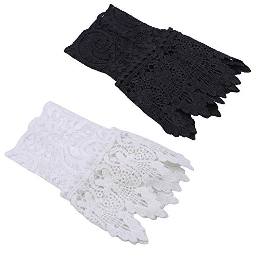 Tvoip 2Pairs White and Black Women Fake Arm Sleeves Organ Pleated Cuff Beautiful Goddess Lace Hollow Hook Accessories Outdoor Apparel Arm Warmers