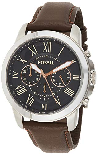 Fossil Men's Grant Stainless Steel Analog-Quartz Watch with Leather Strap, Rose Accents, 22 (Model: FS4813IE)