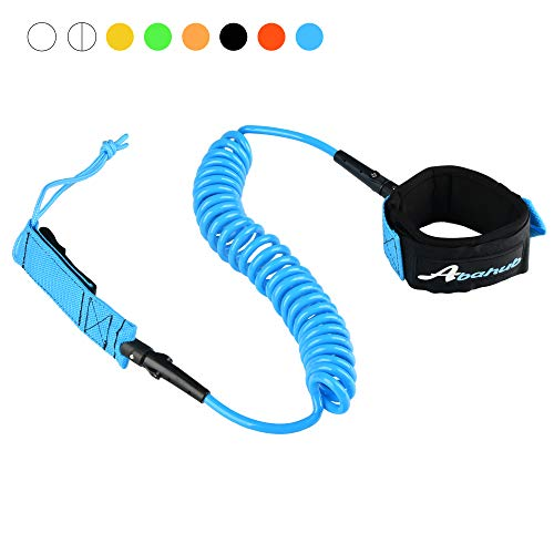 Abahub Premium Coiled SUP Leash, Stand-up Paddleboard Legrope, 10 feet Blue 7 mm Thick for Surfboard, Skimboard, Boogie Board