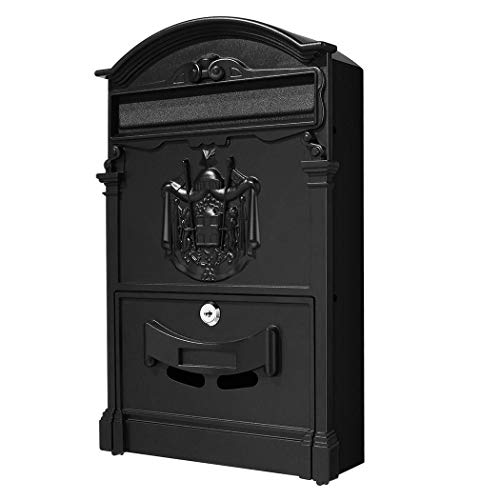 Caroma Classical Villa Mailbox Pastoral Retro Wall Letter Box Waterproof Outdoor Post Mailbox with Lock, Retro Wall-Mount Mailbox 16×9.5×3inch (Black)