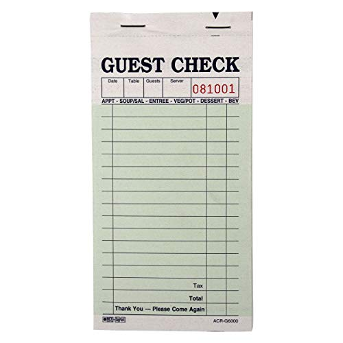 DayMark ACR-G6000 Carbon Guest Check, 2 Part, Green with Yellow Copy (50 Books, 50 Checks per Book)