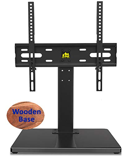 FORGING MOUNT Wooden Base Universal TV Stand-Tabletop TV Stand Base for 32 to 55 Inch OLED LED LCD TVs-Height Adjustable TV Mount Stand with Wire Management, Holds up to 99lbs, VESA 400x400mm(Max)