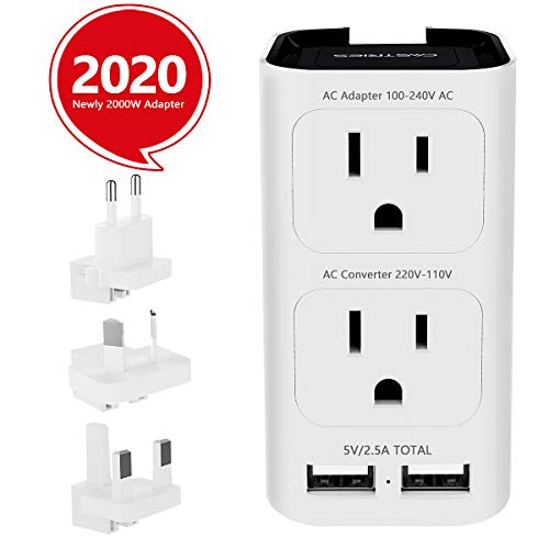 CASTRIES Voltage Converter 220 to 110, 2000W Universal Travel Adapter and Converter Combo with 2.5A 2-Port USB Charging and EU/UK/AUS/US Worldwide Plug Adapter, White
