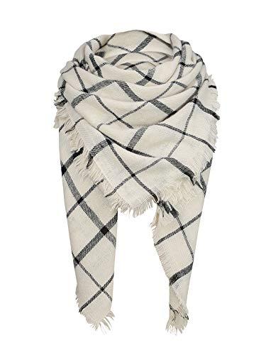 Womens Plaid Blanket Scarf for Women Classic Soft Tartan Wrap Shawl Oversized Shawl Cape Scarves White Black Square