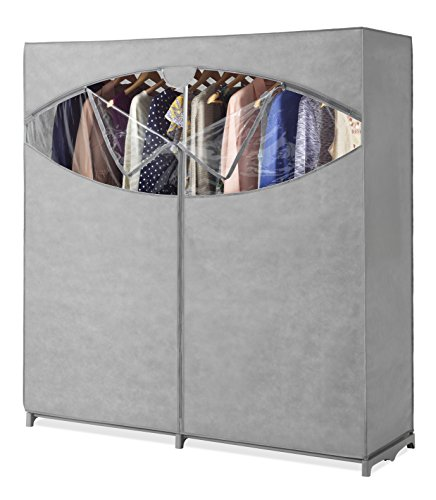 Whitmor Portable Wardrobe Clothes Storage Organizer Closet with Hanging Rack - Extra Wide -Grey Color - No-Tool Assembly - Extra Strong & Durable - 60' L x 19.5' W x 64' - Not for Outside use