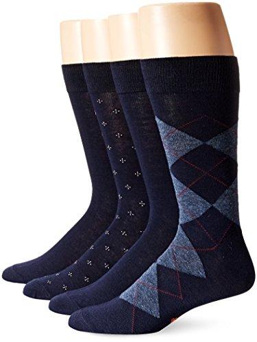 Dockers Men's Argyle Dress Socks, Navy (4 Pairs), Shoe Size: 6-12
