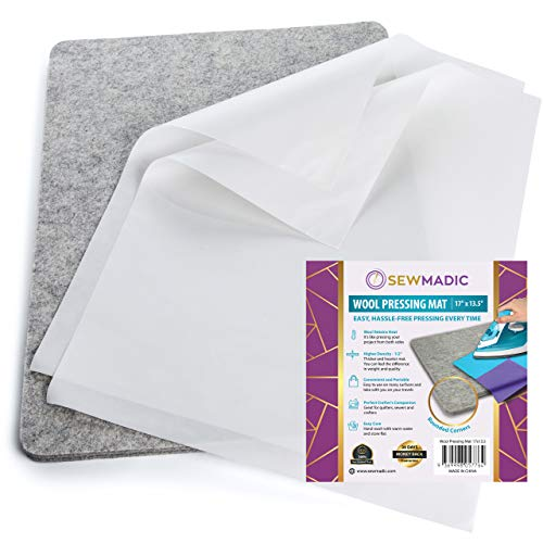 "Sewmadic Wool Pressing Mat for Quilting, 17"" x 13 ½"" - Bonus Applique Pressing Sheet s - Thick Quilters Wool Ironing Mat - A Great Wool Ironing Pad for Quilters - Quilting Supplies and Notions"