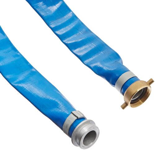 Apache 98138015 1-1/2' x 50' Blue PVC Lay-Flat Discharge Hose with Aluminum Pin Lug Fittings