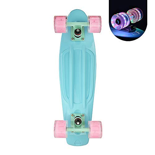 Complete 22inches Cruiser Skateboards for Beginners - Kids Skateboard with Sturdy Deck Plastic Banana Board with Colorful LED Wheels for School and Travel
