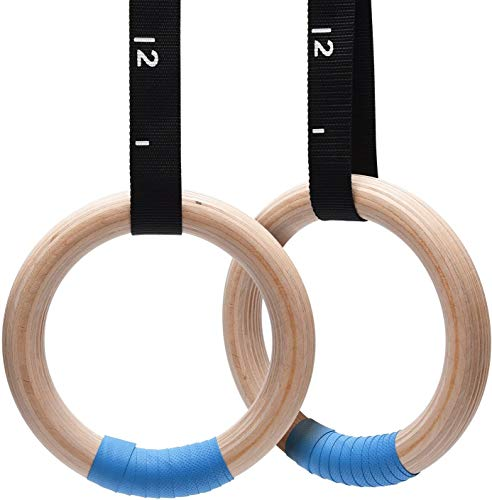 PACEARTH Wood Gymnastics Rings 1500lbs with Adjustable Cam Buckle 14.76ft Long Straps Exercise Rings Non-Slip Training Rings for Home Gym Full Body Workout