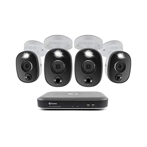 Swann 8 Channel 4 Camera DVR Security System, Wired Surveillance 4K HD DVR-5580 + 2TB HDD, Audio Capture, Color Night Vision, Heat/Motion Sensing Warning Light, Alexa + Google, SWDVK-855804WL