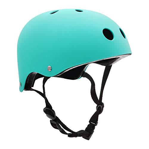 FerDIM Skateboard Helmet, Kids/Adult Bike Helmet with Removable Liner Skiing, Adjustable Straps CPSC Certified for Skateboard, Scooter, Skating, Cycling (Light Blue, Medium: 21.3'-22.4'/ 54-57CM)