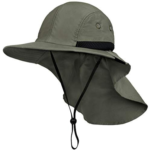 Fishing Hat with Neck Flap, Sun Protection Hiking Hat for Men Women Safari Cap Olive