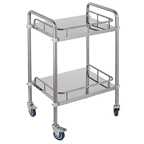 Lab Cart Rolling Cart,Shelf Stainless Steel Utility Cart,Catering Cart with Wheels,Commercial Wheel Dolly Restaurant Dinging Utility Services (2 Shelves)
