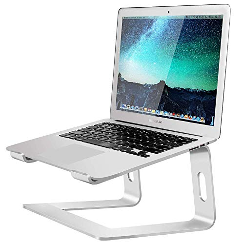 Soundance Laptop Stand, Aluminum Computer Riser, Ergonomic Laptops Elevator for Desk, Metal Holder Compatible with Mac MacBook Pro Air, Lenovo, HP, Dell, More 10-15.6 Inch PC Notebook, LS1 Silver