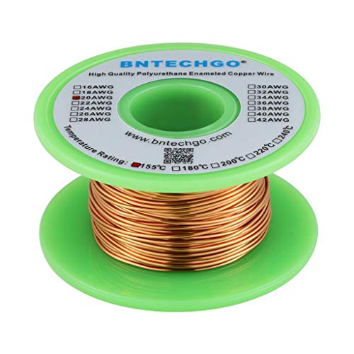 BNTECHGO 20 AWG Magnet Wire - Enameled Copper Wire - Enameled Magnet Winding Wire - 4 oz - 0.0315' Diameter 1 Spool Coil Natural Temperature Rating 155℃ Widely Used for Transformers Inductors