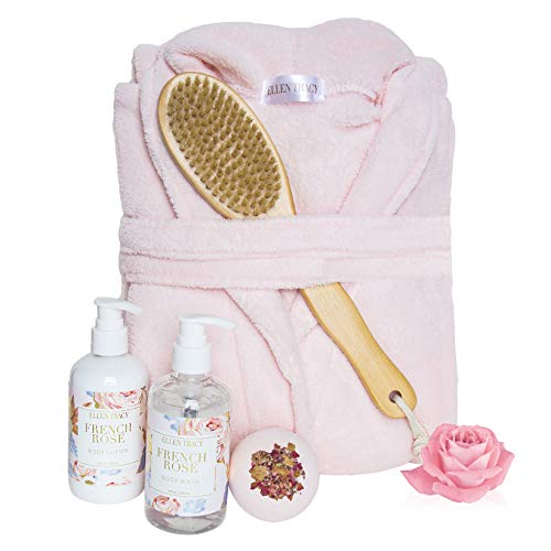 Ellen Tracy Five Piece Robe and Back Brush Collection, Mother's Day Gift for Women (French Rose)