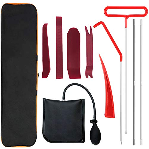 Full Professional Car Tool Kit with Long Reach Grabber with Air Wedge Bag Pump Emergency Kit for Cars Truck