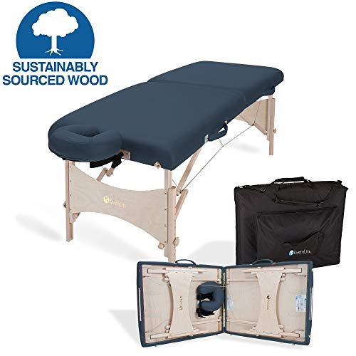EARTHLITE Portable Massage Table HARMONY DX  Eco-Friendly Design, Hard Maple, Superior Comfort, Deluxe Adjustable Face Cradle, Heavy-Duty Carry Case (30' x 73')