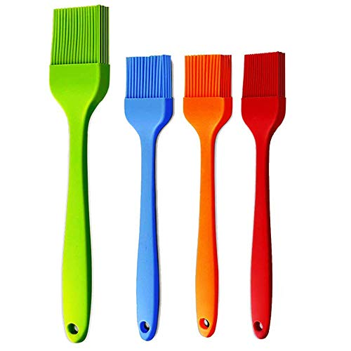 iPstyle Basting Brush Silicone Pastry Baking Brush BBQ Sauce Marinade Meat Glazing Oil Brush Heat Resistant, Kitchen Cooking Baste Pastries Cakes Meat Desserts, Dishwasher Safe 4Pack